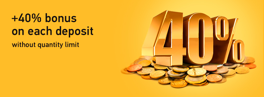 40% Bonus for each deposit with no limit - Grand Capital