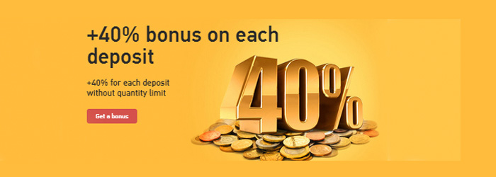 Receive Any Deposit Bonus plus 40% on Grand Capital