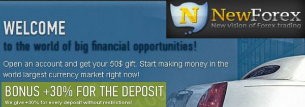 We give 30% Bonus for Every Deposit Without Restrictions - NewForex