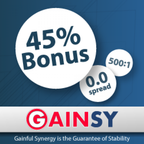 Get 45% Bonus to your trading account - GAINSY
