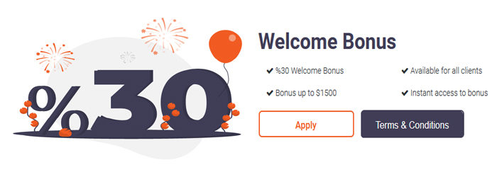 30% Welcome Bonus up to $1500, Tra Markets