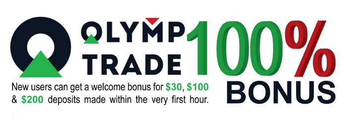 100% Special Welcome Bonus on Olymp Trade