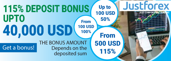 115% Welcome Bonus up to $40000, JustForex